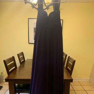 Purple formal dress long strapless